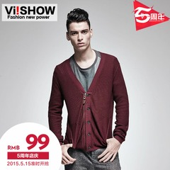 Viishow2015 spring for v neck Cardigan Sweater men solid color men's new flashes thin sweater coat