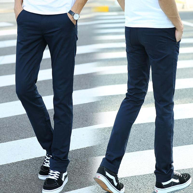 男士青少年修身黑色小腳褲