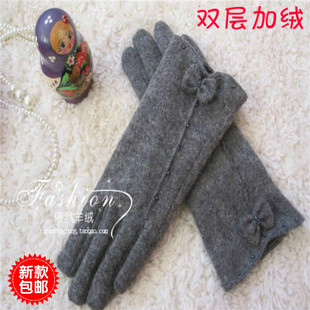 Ms new winter wool cashmere gloves Korean cute bow short Gloves double cashmere warm