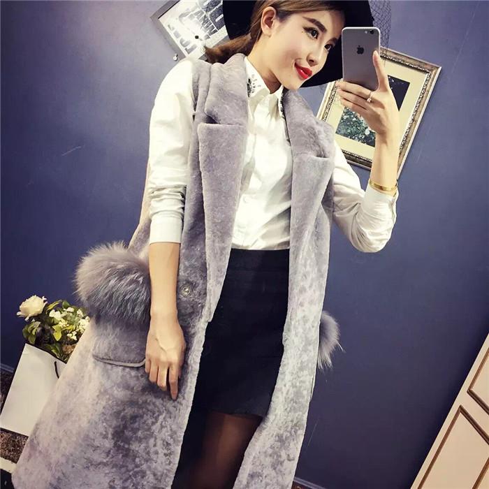 Осьминог девушка осень/зима диких карманы плюша новой Европе темперамент долго декоративный большой лацкане жилет куртка для женщин