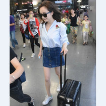 A bust of 2015 Yang mi with bull-puncher skirt double-breasted Europe and the United States fan cowboy short skirt of tall waist show thin A word umbrella skirt skirt