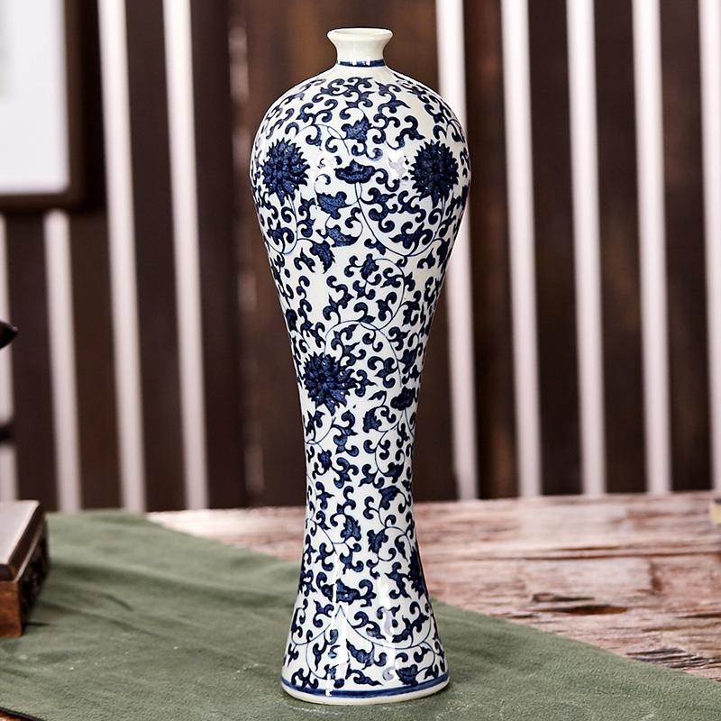 景德鎮陶瓷青花瓷小花瓶花插花器 家居酒櫃裝飾工藝品客廳擺件