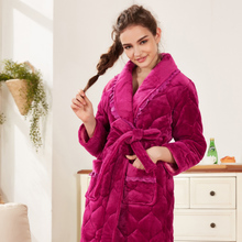 Women's winter thick warm flannel robe three-layer thick quilted robe bathrobe warm pajamas home service
