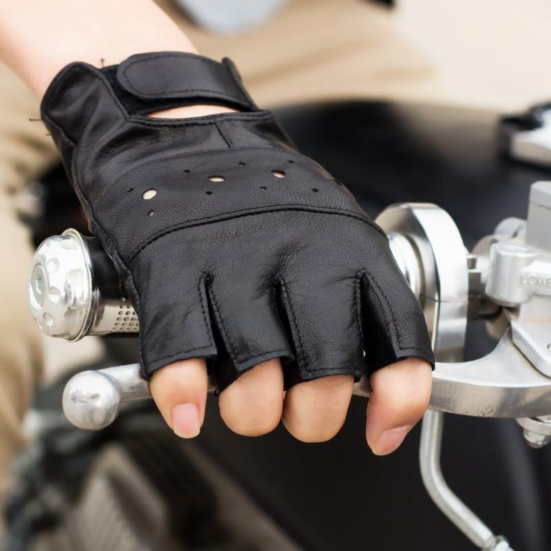 半指手套男透氣薄真皮開車特種兵戰術防滑耐磨露指皮手套