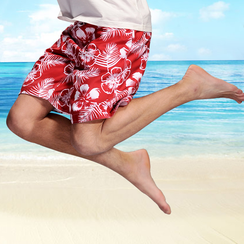 Lesmart summer mens beach pants loose add fat increase speed dry thin pant shorts seaside holiday