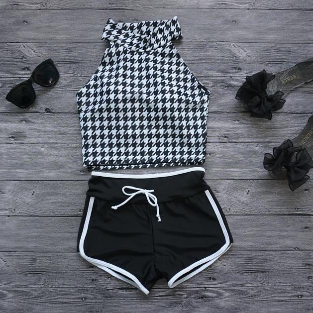 千鳥格高領 黑白混搭韓國風小胸保守複古高腰 女泳衣 泳裝