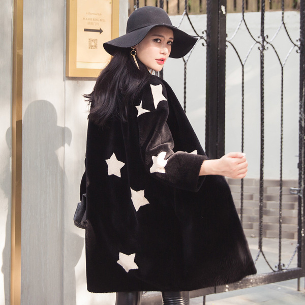 Lucky Dolphin sheep shearing fur coat fur 2016 new wave of female winter wool coat long section of one of Haining