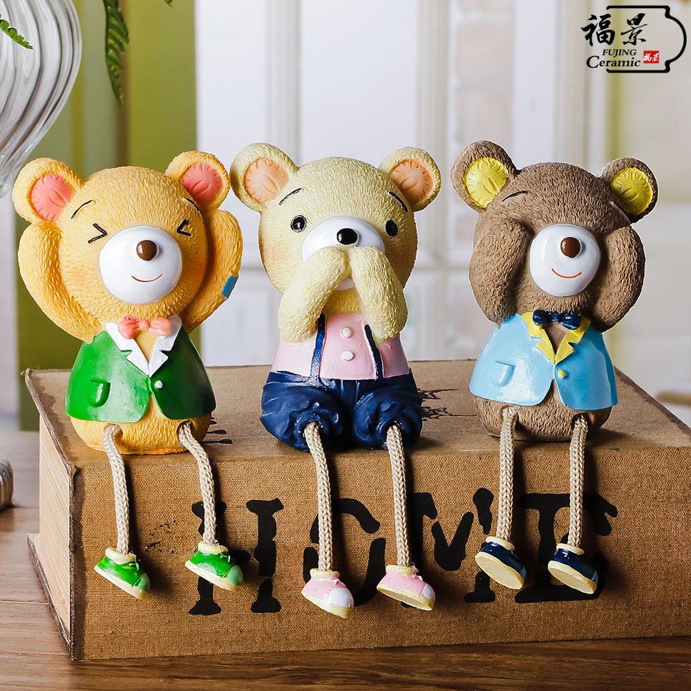 福景家居 裝飾品小擺件樹脂工藝品三不熊吊腳娃娃大號可愛動物