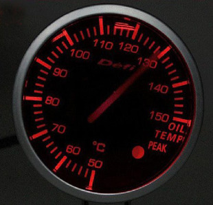 Modified car oil temperature meter DEFI BF 2 5 inch 60mm car dashboard with red and white lights on self test