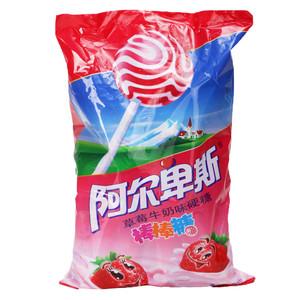 阿尔卑斯草莓牛奶味硬糖棒棒糖200g袋装含20支
