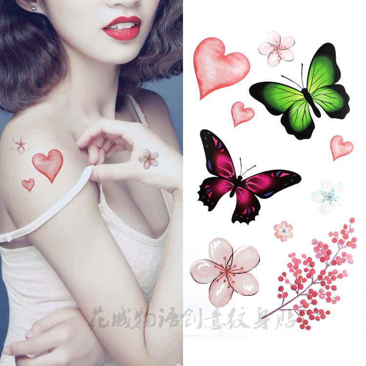 防水纹身贴女款 唯美桃花花瓣彩色蝴蝶甜美 小清新背部胸部贴花