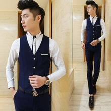 In the fall of the new men's suit vest han edition cultivate one's morality acme England wind no-iron cultivate one's morality leisure suit vest