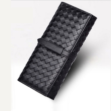 Fashion star with dinner handbags hand skin woven leather wallet zero
