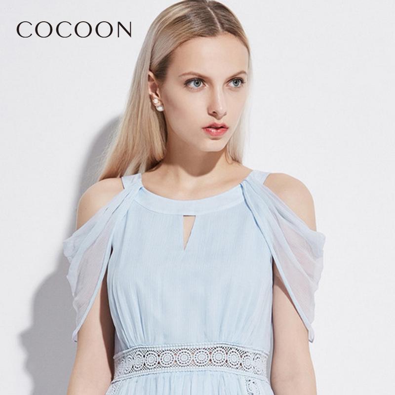 COCOON/可可尼夏�b新品女�b露肩�色�B衣裙