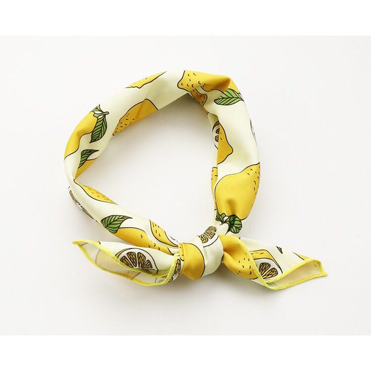Flora原创设计品牌柠檬丝巾方巾围巾发带头饰可爱搭配韩版小领巾