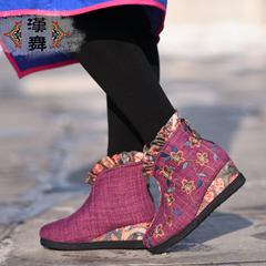 Chinese dance shoes authentic Beijing winter ethnic embroidered shoes wedges shoes short boots casual shoes women plum flower