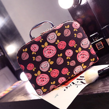 Cosmetic bag south Korean new high-capacity square make-up cosmetics receive package box with a mirror han edition lovely trip