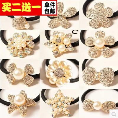 Корея милые корейские волосы аксессуары Diamond Перл Кольцо веревки несколько головы веревочки металла тиара конце кольцо полоса