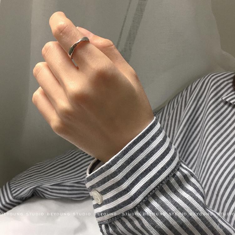 【別樣】chic原創莫比烏斯開口戒指女情侶對戒ins風開口戒指92