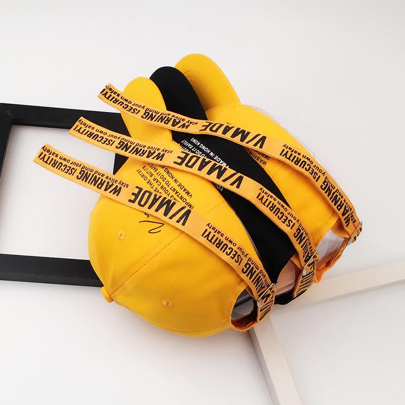 11月30日最新优惠黄色长棒球帽子春夏潮流飘带带子