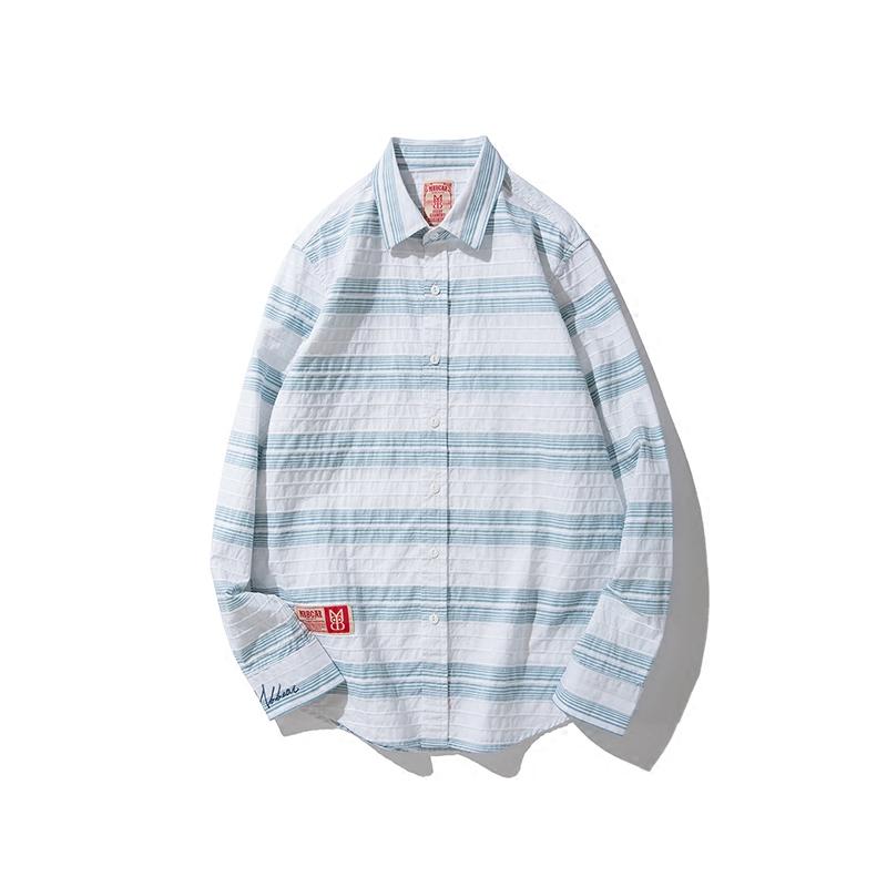 海军蓝 Mbbcar原创定制立体绿条纹衬衫 欧美英伦摩登复古衬衣男