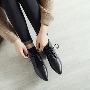 真皮切尔西靴子女2019秋新款单靴低跟短靴百搭系带英伦尖头马丁靴