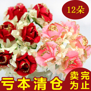 2 5cm color peony roses simulation artificial flower diy handmade paper flower garland headdress candy box accessories wholesale