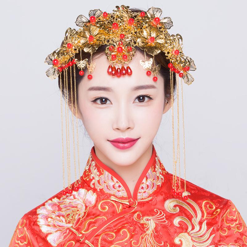 Невеста древний наряд головной убор китайский стиль свадьба аксессуары для волос дракон пальто аксессуары красивый зерна одежда финикс корона выйти замуж аксессуары ювелирные изделия 81