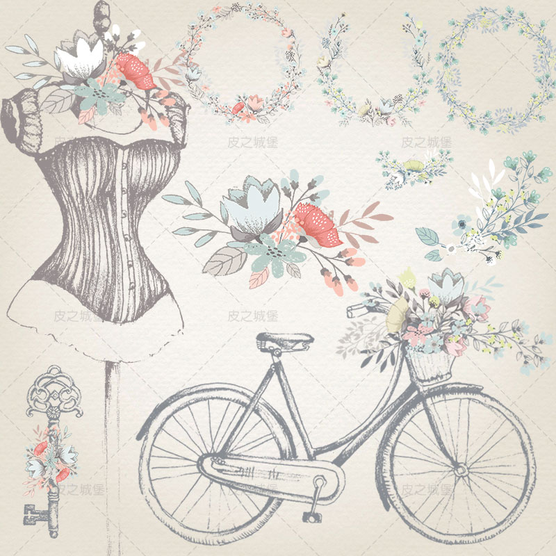 A410 retro HD wedding garland bicycle hand painted PNG button free EPS template AI vector design material