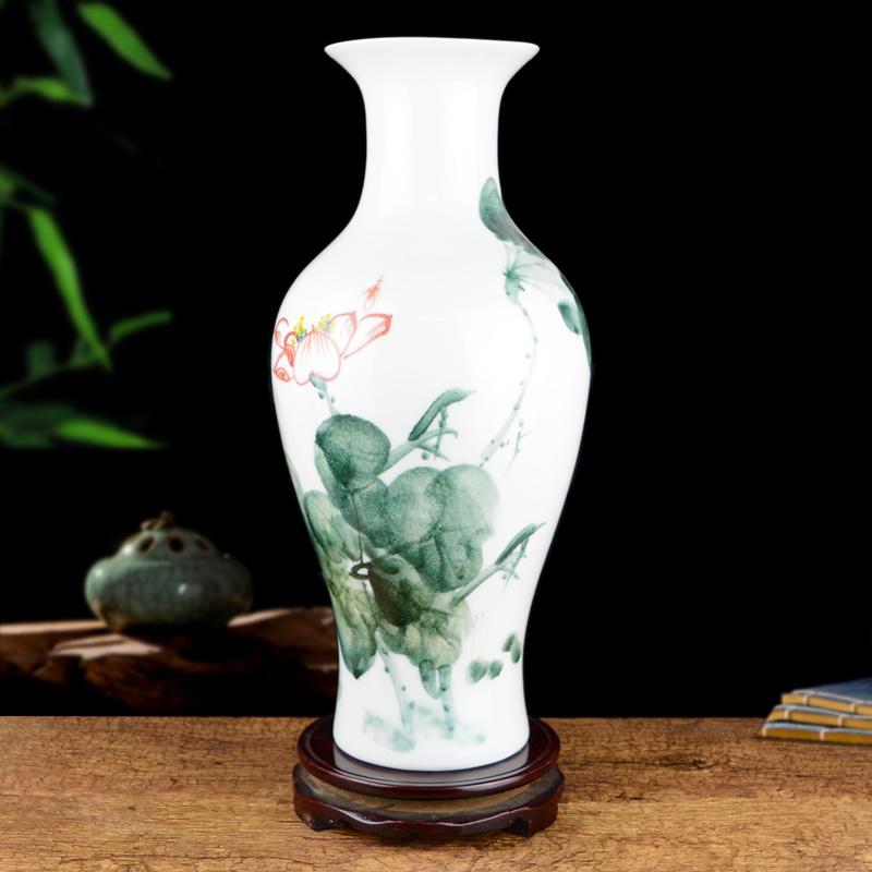 景德鎮陶瓷器手繪粉彩花瓶大號中式客廳插花藝術裝飾品餐桌麵擺件