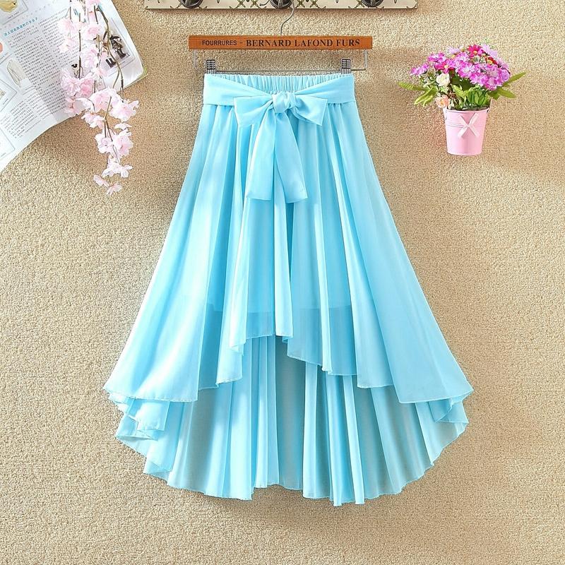 2020新款韩版雪纺半身裙夏中长款不规则裙甜美仙女裙时尚沙滩裙潮