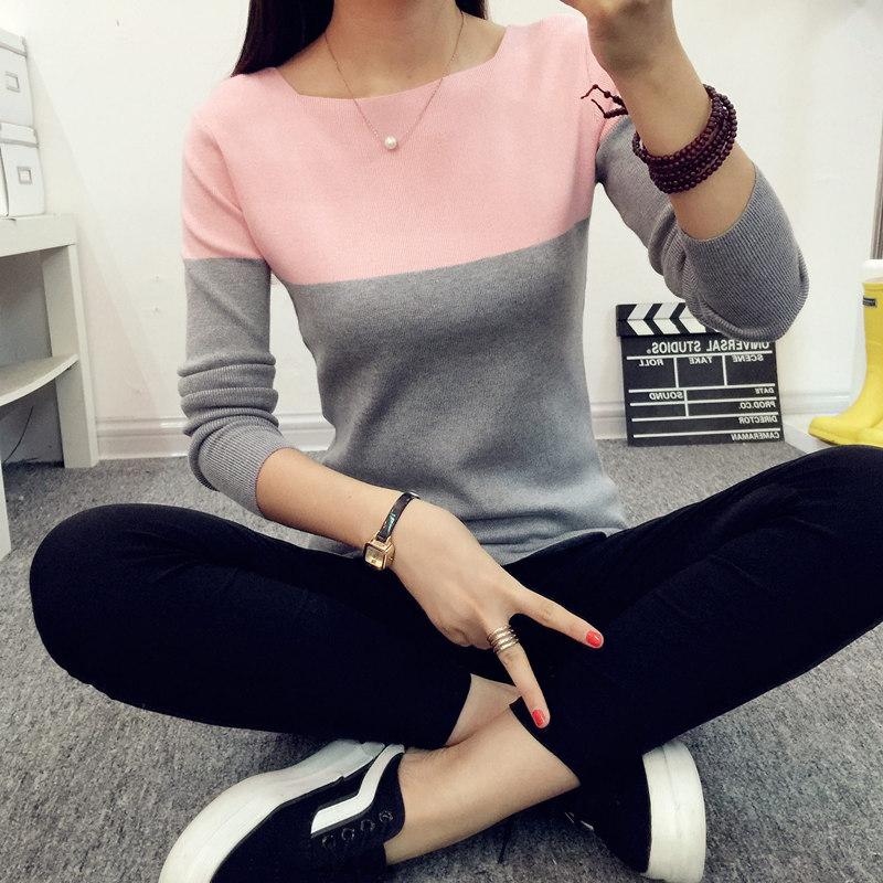 春装新款女装韩版针织衫长袖短款一字领套头毛衣女打底衫上衣外套
