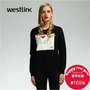 Westlink/West 2015 winter new style women's heart-shape alphabet spell color long sleeve pullover
