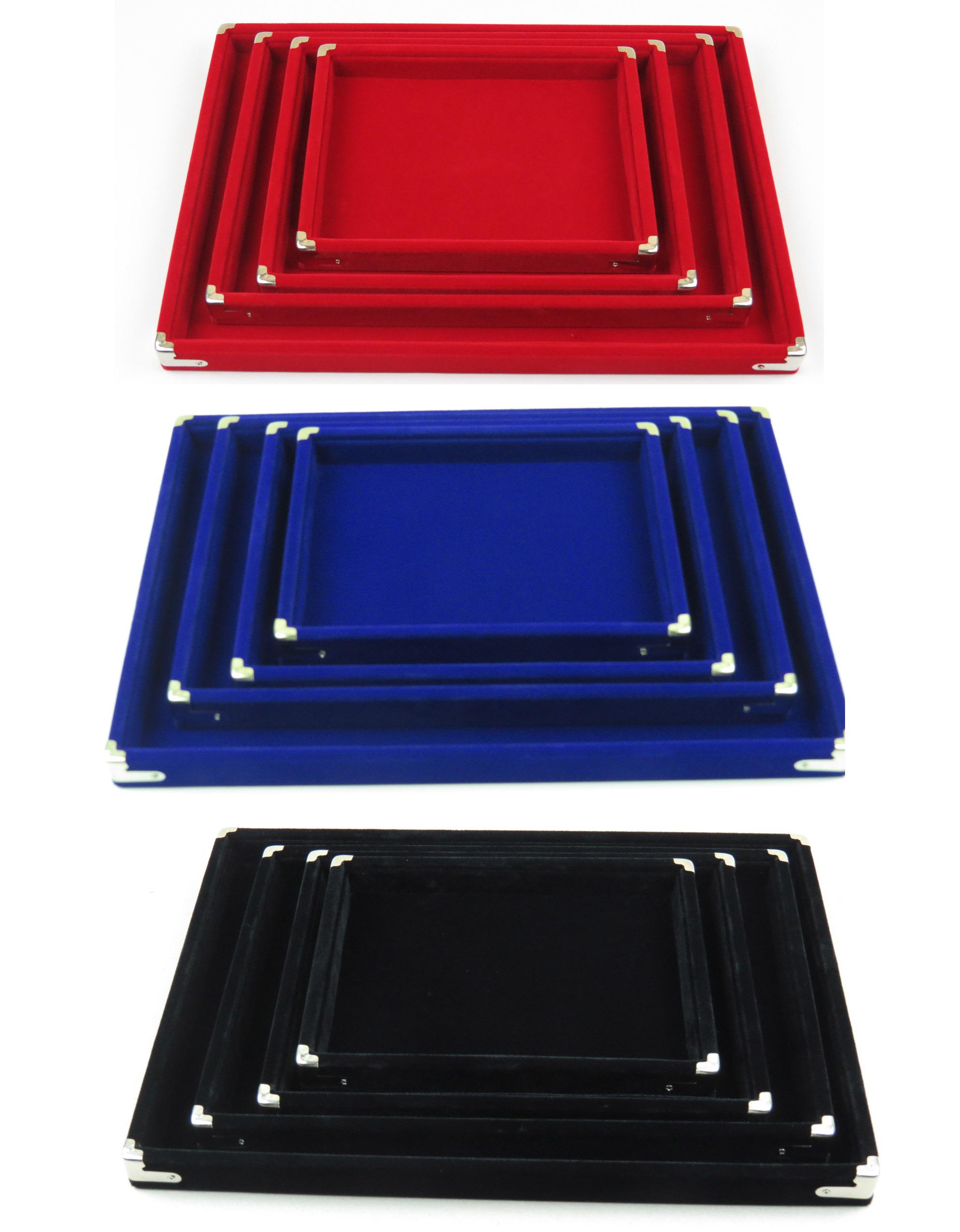 高档珠宝看货盘红黑蓝绒木托盘首饰品道具展示挑货盘双面选货空盘