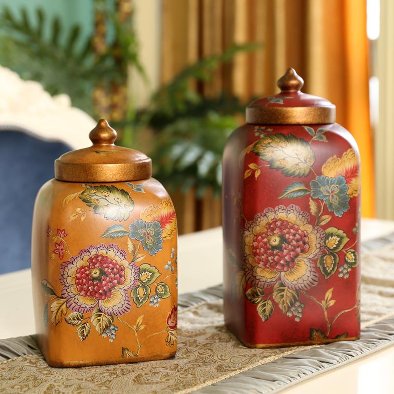 橡樹莊園 美式田園儲物罐擺件 家居複古彩繪 陶瓷藝術擺設