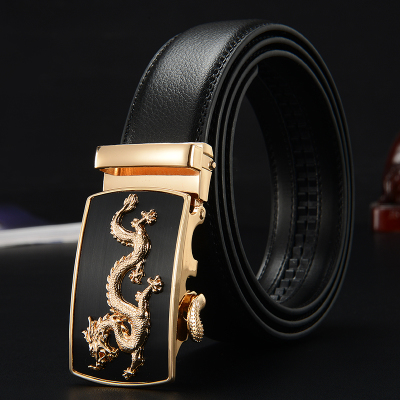 Leather belt mens leather automatic buckle belt business youth leisure middle aged Korean students mens leather pants belt
