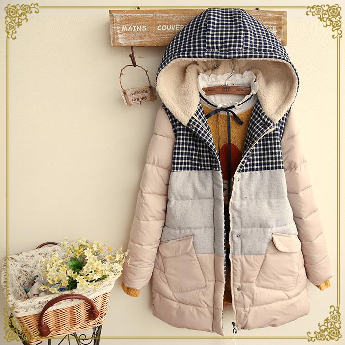 Японский лес 2015 зима новый стиль женщин простой сетки заклинание цвета шить и плюша хлопка куртка женщин зимой