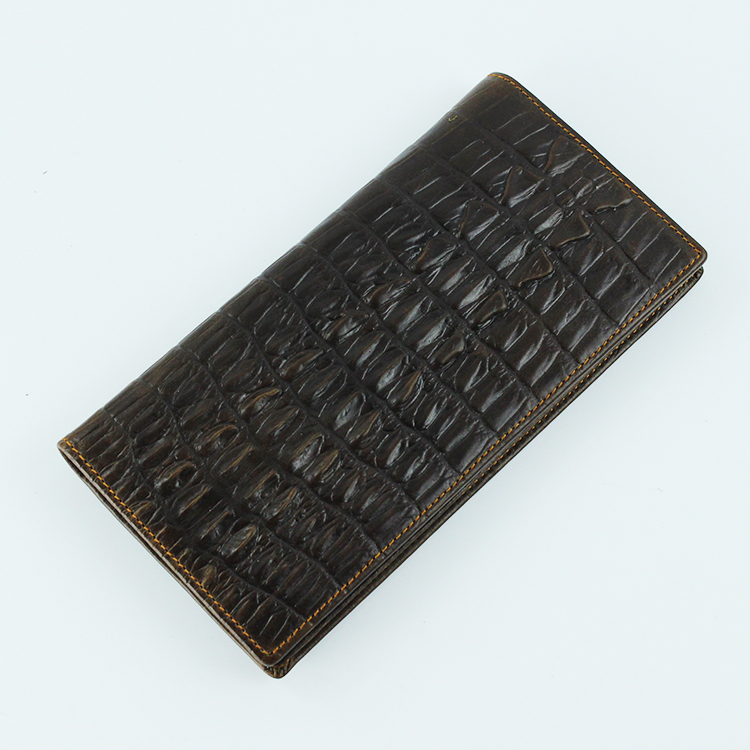 Package mail leisure retro top leather young and middle aged mens crocodile long wallet wallet wide banknote