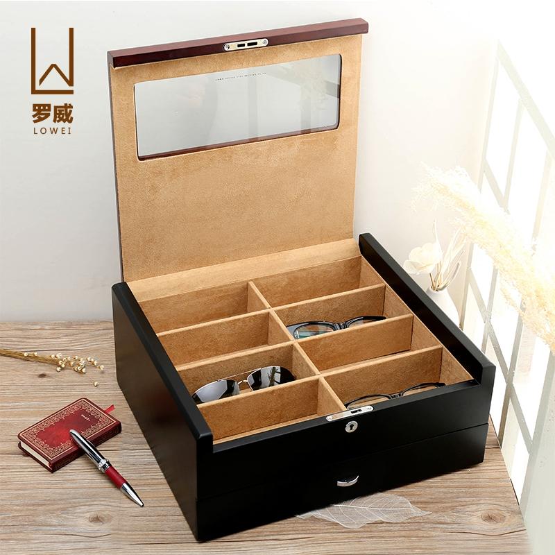 Ло престиж деревянный ясень маньчжурский многослойный очки солнце чернила увеличивающее зеркало хранение шоу собирать коробка коробка блокировка