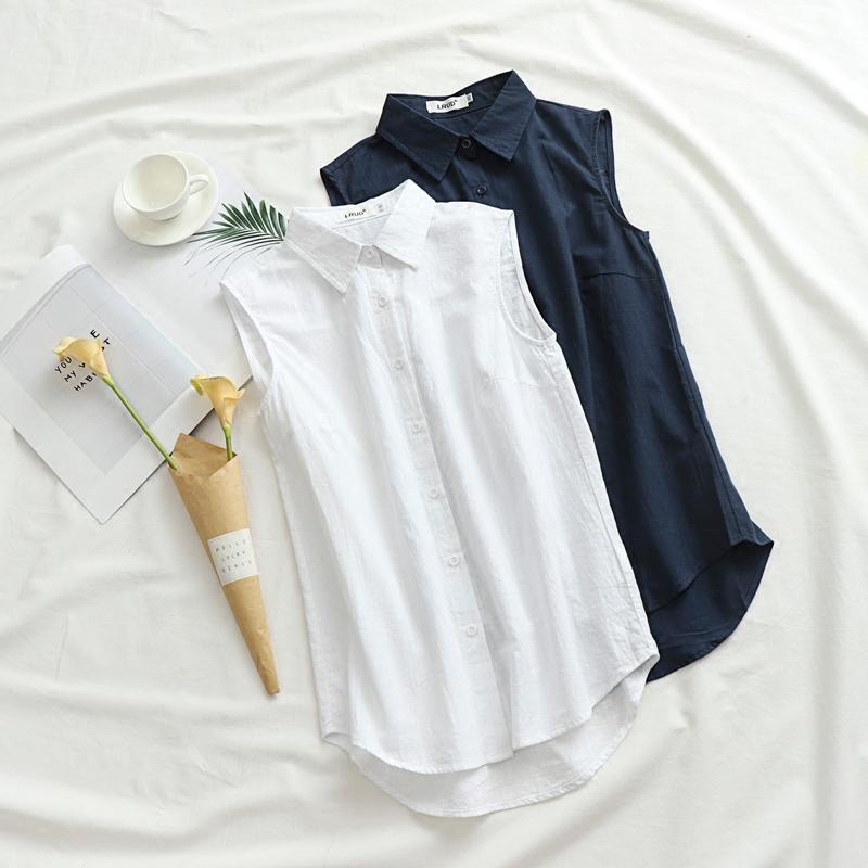 Korean version solid color cotton linen sleeveless shirt womens autumn and winter new front short back long bottomed shirt medium long loose vest shirt