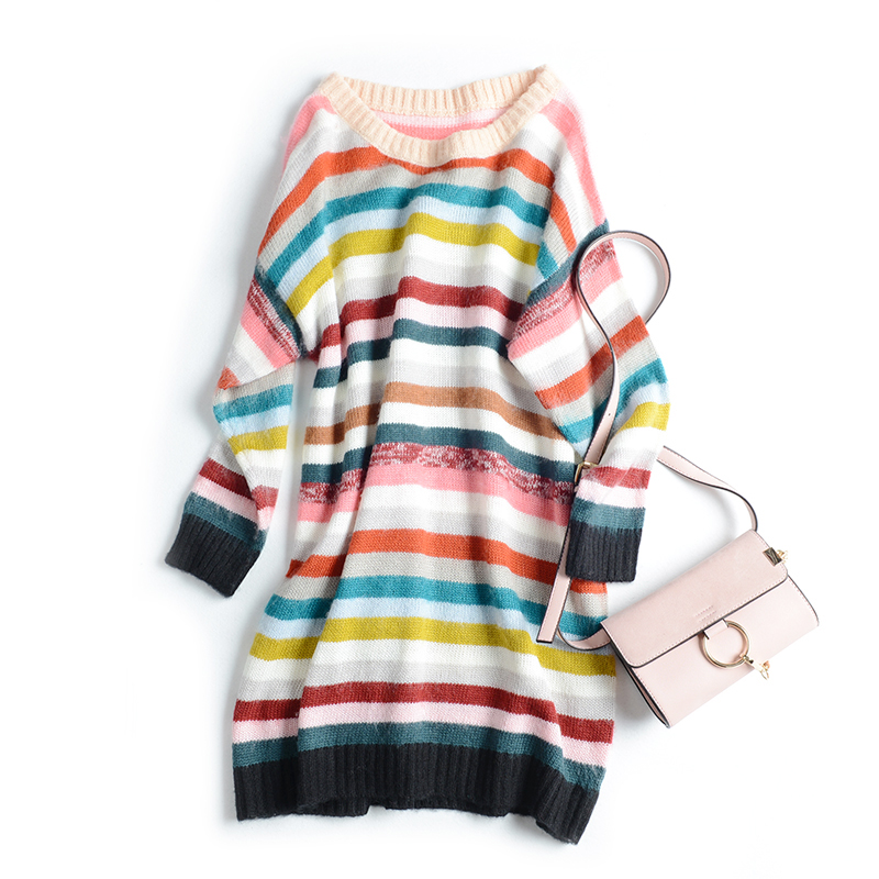 2016 autumn and winter new Mohair stitching stripe rainbow loose medium long Pullover T-shirt