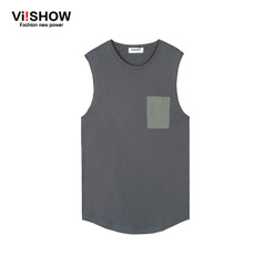 Viishow2015 summer new style fashion simple cotton vest vest solid color round neck sleeveless t-shirt comfort