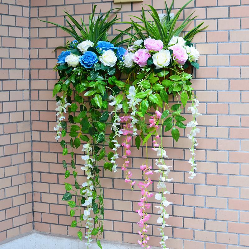 仿真花套装挂壁花花篮壁挂吊篮假花玫瑰花植物墙壁阳台装饰花艺