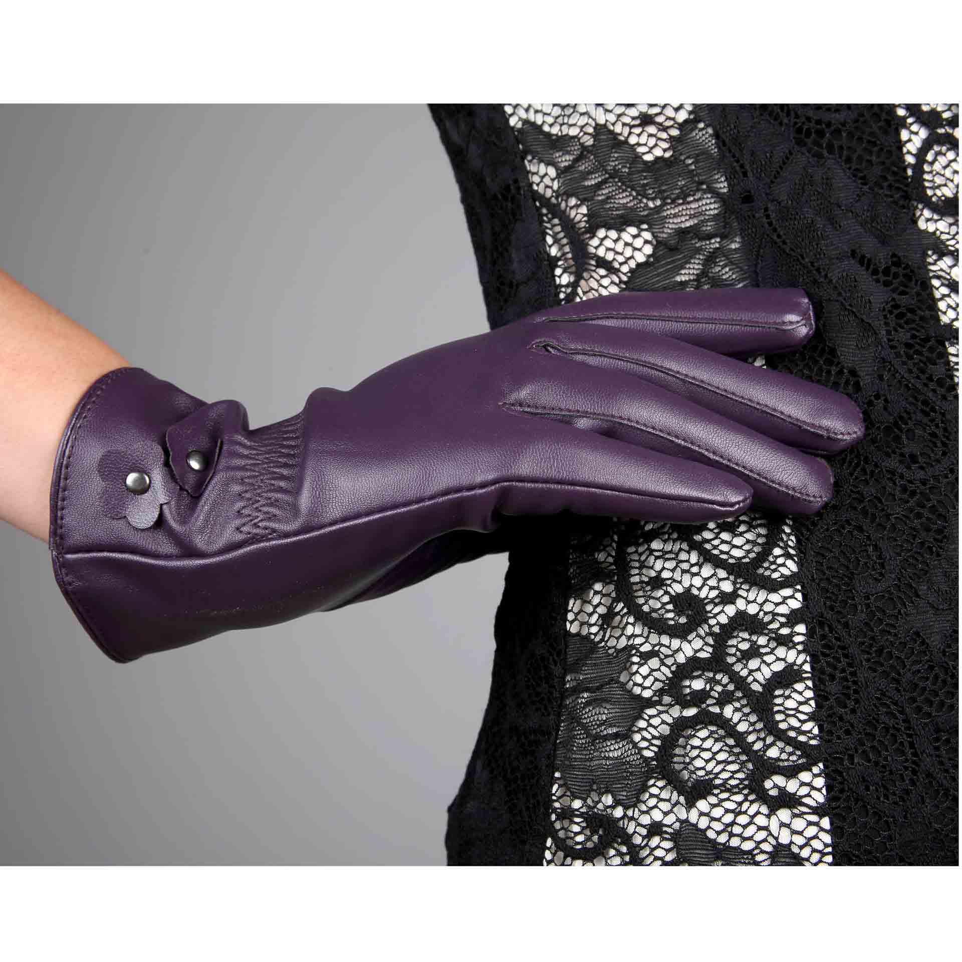 秋冬季新款加绒保暖PU皮手套 女士骑行手套时尚手套厂价直销A016