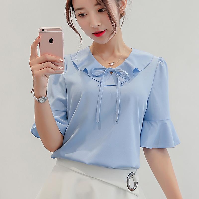 衬衫短袖女装雪纺