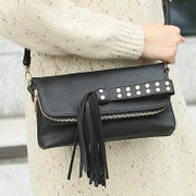 ZYA fall/winter women's clutch bag women bag 2015 new stylish rivets bags tassel shoulder bag women bag