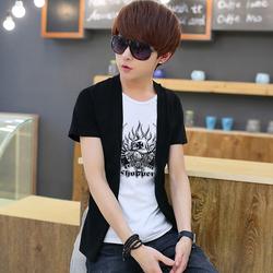 夏装青少年纯棉短袖T恤男韩版非主流假两件套体恤修身男装t恤薄款