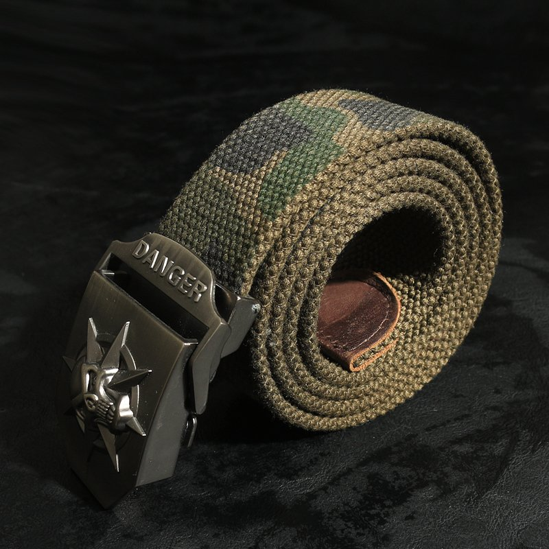 ADDT艾德特 帆布腰帶骷髏頭合金戶外軍裝腰帶迷彩軍綠皮帶