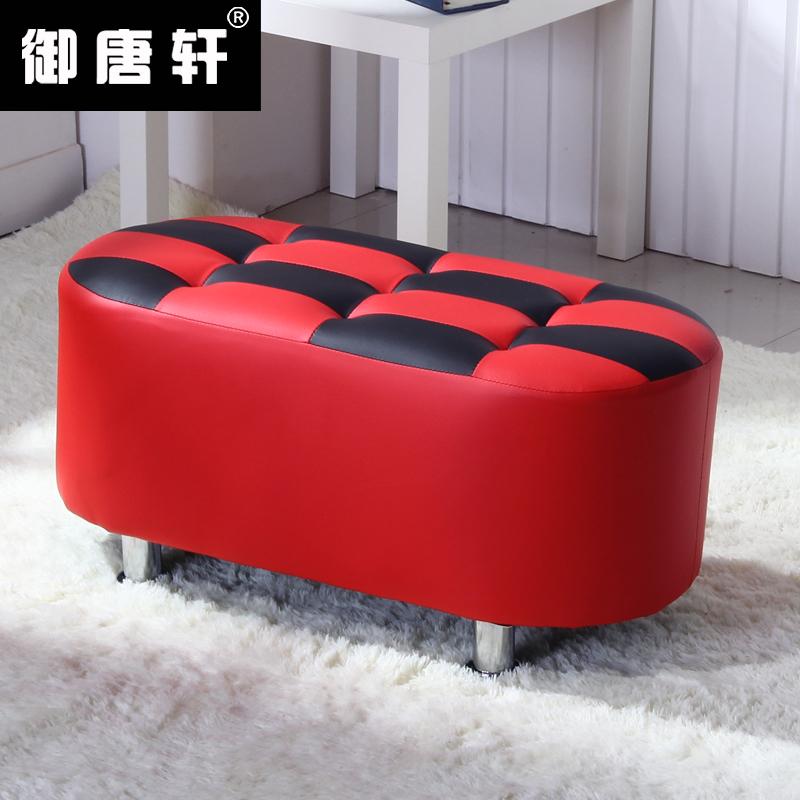服裝店換鞋凳長墩穿鞋凳沙發凳格子 簡約 實木小皮凳試鞋凳