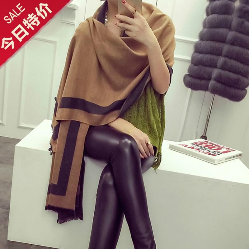 Европейской моды осень/зима кашемира Шарфы двухсторонний два цвета негабаритных шаль утолщаются простой салат из шерсти шарф женщин